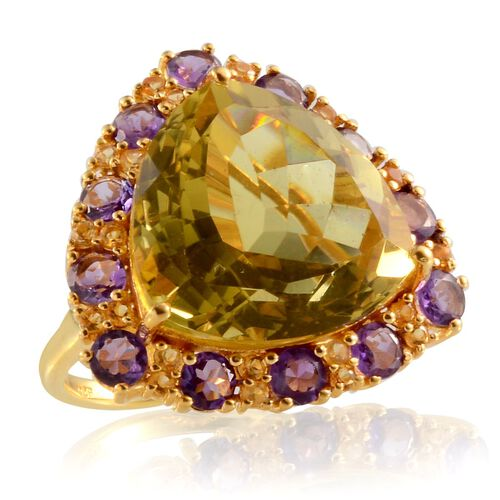 Lemon Quartz (Trl 24.50 Ct), Amethyst and Citrine Ring in 14K Gold Overlay Sterling Silver 28.000 Ct.