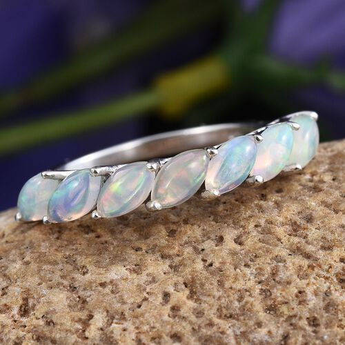 AA Ethiopian Welo Opal (Mrq) 7 Stone Ring in Platinum Overlay Sterling Silver 1.000 Ct.