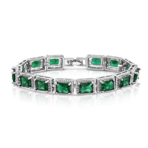 Designer Inspired- Emerald Colour (Oct) Tennis  Bracelet (Size 7) in Silver Bond