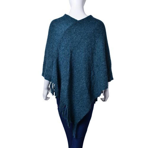 Navy Blue Colour Knitted Poncho with Fringes (Size 80X75 Cm)