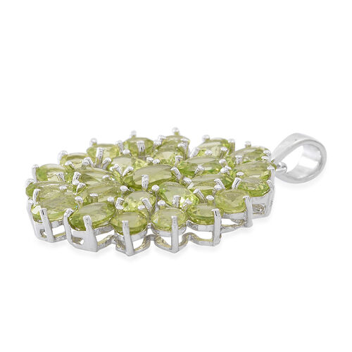 Designer Inspired-Hebei Peridot (Ovl) Floral Pendant in Rhodium Plated Sterling Silver 9.750 Ct.