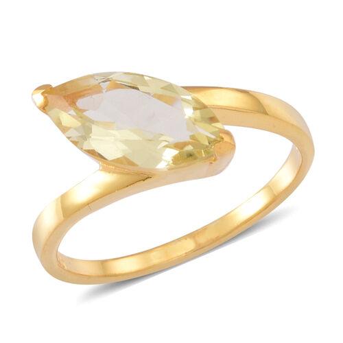 Lemon Quartz (Mrq) Solitaire Ring in 14K Gold Overlay Sterling Silver 2.250 Ct.