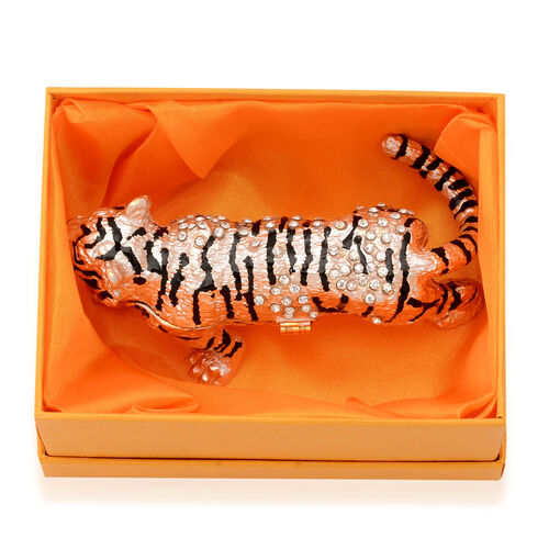 Light Pink and Black Enameled Tiger Shape Trinket Box in Gold Tone with White Austrian Crystal