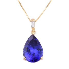 ILIANA 18K Y Gold AAA Tanzanite (Pear 4.50 Ct), Diamond Pendant With Chain 4.560 Ct.