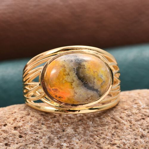 Bumble Bee Jasper (Ovl) Solitaire Ring in 14K Gold Overlay Sterling Silver 9.000 Ct.
