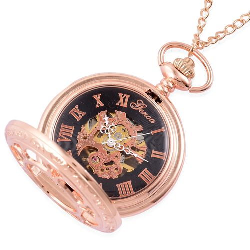 GENOA Automatic Skeleton Black Dial Water Resistant Floral Design Pocket Watch in Rose Gold Tone with Chain (Size 32) in Gold Tone