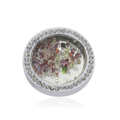 Sapphire, Emerald, Peridot, White Topaz, Red Garnet and White Austrian Crystal Ring in Stainless Steel 10.310 Ct.