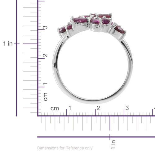 Rhodolite Garnet (Ovl) Leaves Crossover Ring in Rhodium Plated Sterling Silver 4.500 Ct.