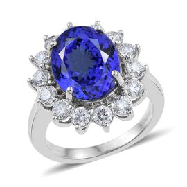 RHAPSODY 950 Platinum AAAA Tanzanite (Ovl 4.90 Ct), Diamond Ring 6.400 Ct.