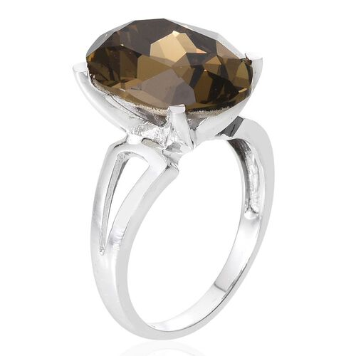 J Francis Crystal from Swarovski - Smoky Quartz Colour Crystal (Ovl) Ring in ION Plated Platinum Bond