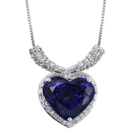 RHAPSODY 950 Platinum 5 Carat AAAA Tanzanite Heart, Diamond VS E-F Necklace with Box Chain (Size 18).