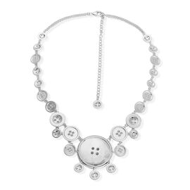 Limited Edition- LucyQ Large Button Necklace (Size 19.5) in Rhodium Plated Sterling Silver 60.00 Gms.