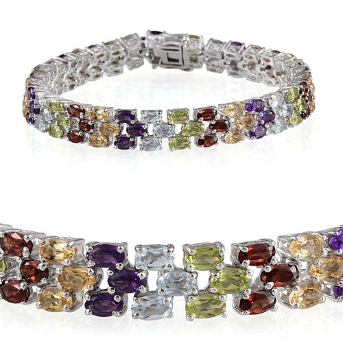 Sky Blue Topaz (Ovl), Mozambique Garnet, Hebei Peridot, Citrine and Amethyst Bracelet in Platinum Overlay Sterling Silver (Size 8) 21.000 Ct.