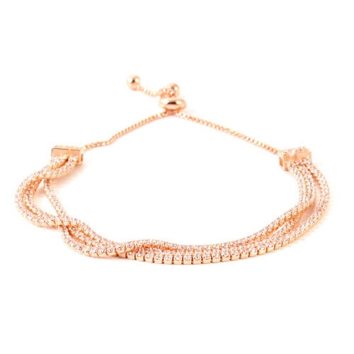 AAA Simulated Diamond (Rnd) Triple Strand Adjustable Bracelet (Size 6.5 to 8.5) in Rose Gold Bond