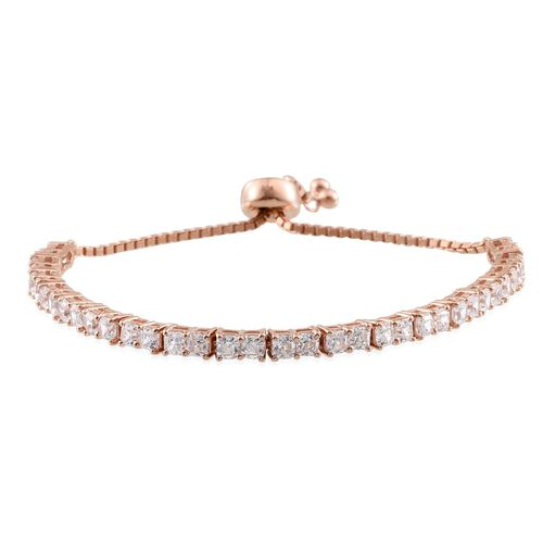 J Francis - Rose Gold Overlay Sterling Silver (Asscher Cut) Adjustable Bracelet (Size 6 to 9) Made with SWAROVSKI ZIRCONIA