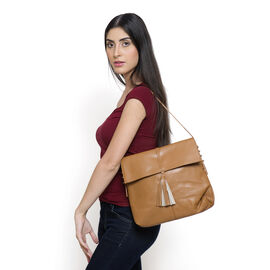 Genuine Leather Tan Colour Shoulder Bag with Shoulder Strap
