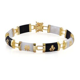 White and Black Jade Chinese Character LU (Promising Career), SHOU (Longevity), FU (Goodluck and Happiness) Bracelet (Size 7) in Yellow Gold Overlay Sterling Silver 50.000 Ct.
