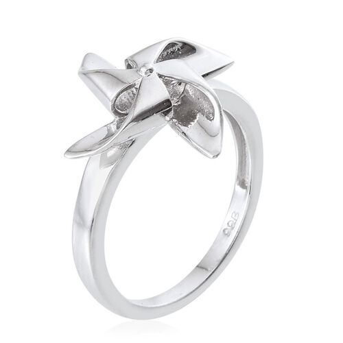 Platinum Overlay Sterling Silver Origami Windmill Ring, Silver wt 3.11 Gms.