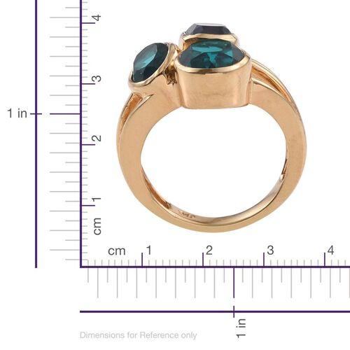 Capri Blue Quartz (Rnd 2.25 Ct) Ring in 14K Gold Overlay Sterling Silver 5.500 Ct.