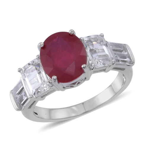 African Ruby (Ovl 5.00 Ct), White Topaz Ring in Rhodium Plated Sterling Silver 7.500 Ct.