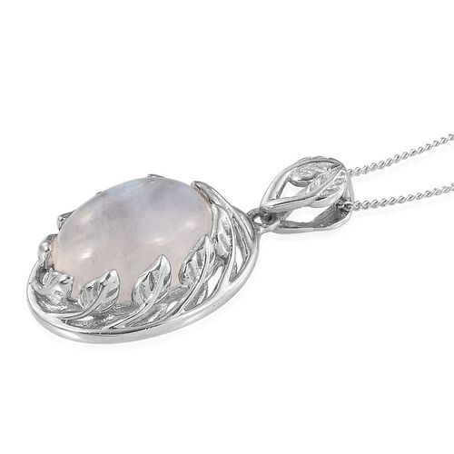 Natural Rainbow Moonstone (Ovl) Solitaire Pendant With Chain in Platinum Overlay Sterling Silver 6.750 Ct.