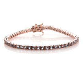 5.25 Ct AA Espirito Santo Aquamarine Silver Tennis Bracelet in Rose Gold Overlay (Size 7.5)
