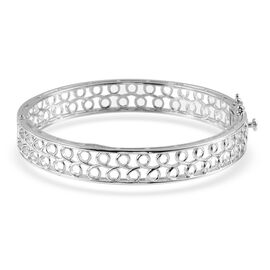 Hong Kong Jewellery Show Special ION Plated Platinum Bond Bangle (Size 7.75)