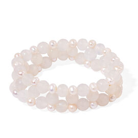 Agate and Fresh Water White Pearl Stretchable Bracelet (Size 7.5) 185.000 Ct.
