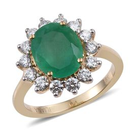 ILIANA 18K Y Gold Boyaca Colombian Emerald (Ovl 3.25 Ct), Diamond Ring 4.000 Ct.