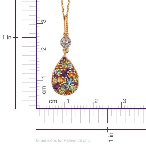 GP Hebei Peridot (Mrq), Electric Swiss Blue Topaz, Amethyst, Citrine, Sky Blue Topaz, Kanchanaburi Blue Sapphire and Multi Gem Stone Pendant With Chain in 14K Gold Overlay Sterling Silver