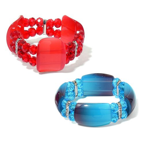 Set of 2 - Simulated Red and Blue Diamond and White Austrian Crystal Stretchable Bracelet (Size 7.5) in Silver Tone