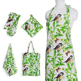 Kitchen Textiles - 100% Cotton White,Green and Yellow Colour Birds and Leaves Printed Apron (75x65 Cm), Glove (32x18 Cm), Pot Holder (20x20 Cm), Kitchen Towel (65x40) and Bag (45x35 Cm)