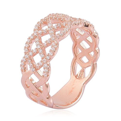 AAA Simulated White Diamond Ring in Rose Gold Overlay Sterling Silver