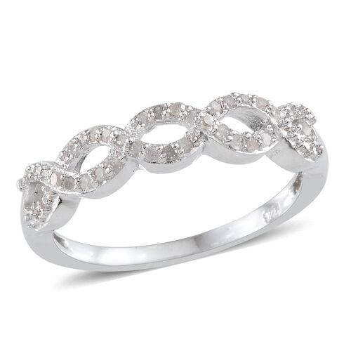 Diamond (Rnd) Infinity Ring in Platinum Overlay Sterling Silver 0.150 Ct.