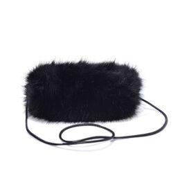 Faux Fur Black Colour Handbag (Size 27x20 Cm)