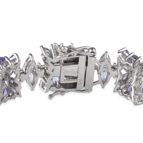 Tanzanite (Pear) Bracelet (Size 7) in Platinum Overlay Sterling Silver 22.000 Ct.