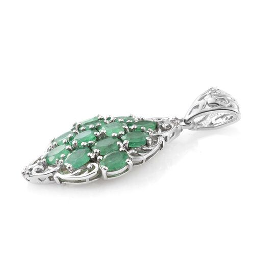 Kagem Zambian Emerald (Ovl), Natural Cambodian Zircon Pendant in Platinum Overlay Sterling Silver 3.750 Ct.