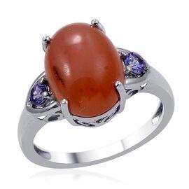 Mitiyagoda Peach Moonstone (Ovl 4.25 Ct), Tanzanite Ring in Platinum Overlay Sterling Silver 4.500 Ct.