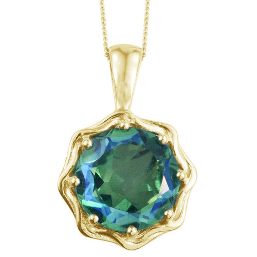 Peacock Quartz (Rnd) Solitaire Pendant with Chain in 14K Gold Overlay Sterling Silver 8.250 Ct.