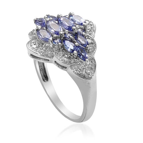 Tanzanite and Diamond Platinum Overlay Sterling Silver Ring  0.946 Ct.