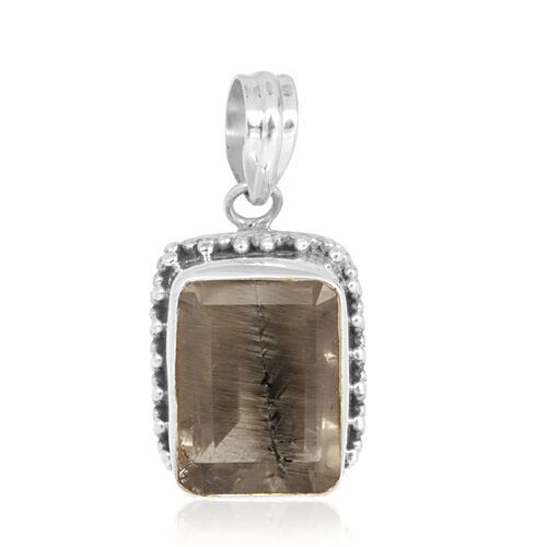 Jewels of India Dragonfly Quartz (Oct) Pendant in Sterling Silver 21.360 Ct.