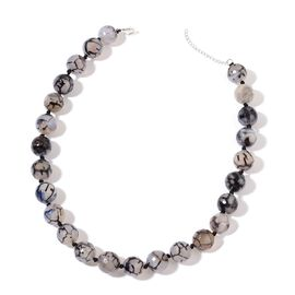 Rare Size Faceted 16mm Grey Agate Necklace (Size 18 with 2 inch Extender) in Rhodium Plated Sterling Silver 655.000 Ct.