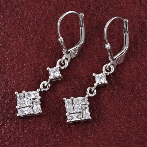J Francis - Platinum Overlay Sterling Silver (Sqr) Lever Back Earrings Made with SWAROVSKI ZIRCONIA