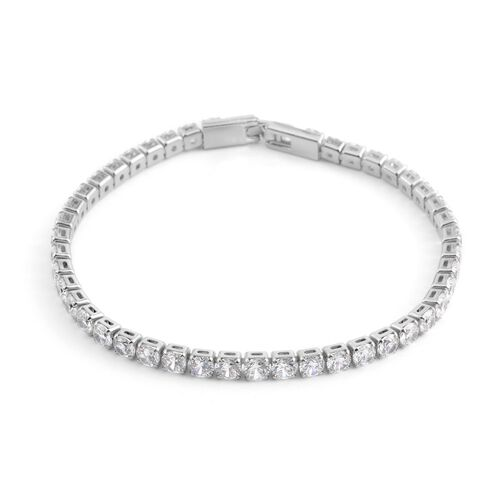 Simulated Diamond (Rnd) Tennis Bracelet (Size 7.5) in Silver Bond