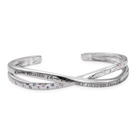 Kimberley A Wish From Me Collection Espirito Santo Aquamarine (Rnd), Pink Sapphire and Tanzanite Bangle (Size 7.5) in Platinum Overlay Sterling Silver, Silver Wt. 24.65 Gms.