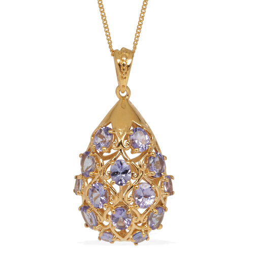 Tanzanite (Ovl) Pendant With Chain in 14K Gold Overlay Sterling Silver 4.250 Ct.