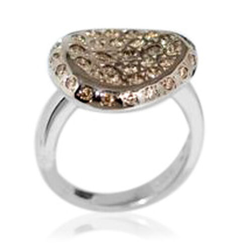 One Off 14K W Gold Champagne Diamond Ring  1.006 Ct.