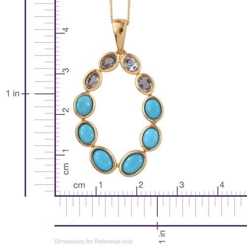 Arizona Sleeping Beauty Turquoise (Ovl), Bondi Blue Tanzanite Pendant with Chain in 14K Gold Overlay Sterling Silver 3.250 Ct.