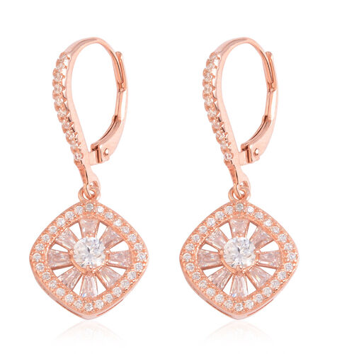 JCK Vegas Collection AAA Simulated Diamond (Rnd) Lever Back Earrings in Rose Gold Overlay Sterling Silver