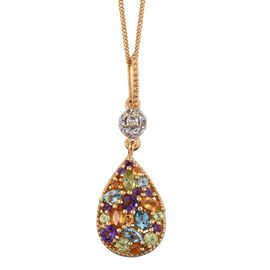 GP Hebei Peridot (Mrq), Electric Swiss Blue Topaz, Amethyst, Citrine, Sky Blue Topaz, Kanchanaburi Blue Sapphire and White Topaz Pendant With Chain in 14K Gold Overlay Sterling Silver 1.620 Ct.